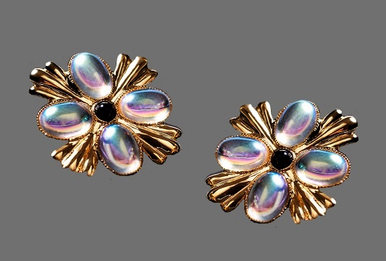 Four-petal flower gold earrings