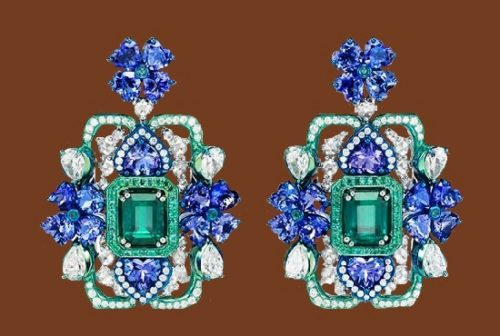 From 2017 high-jewelry collection, earrings. Emerald, sapphires and diamonds