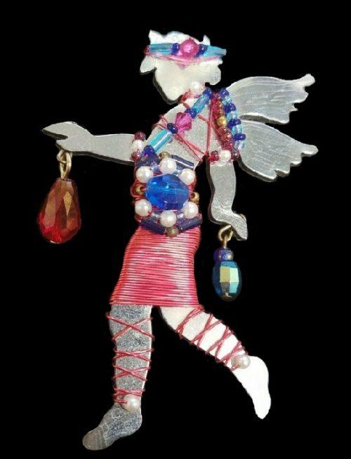 Funk Artsy Angel Carrying Crystals vintage brooch. 1992