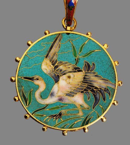 Gold framed bird cloisonne pendant
