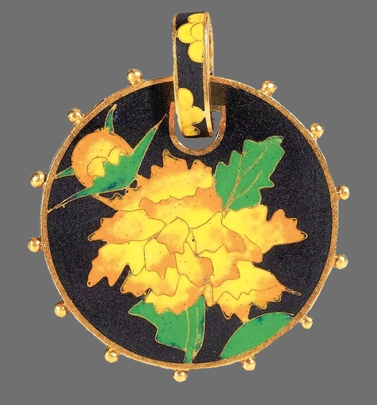 Gorgeous black, yellow and green enamel pendant