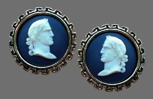 Greek Portrait Cufflinks, porcelain, silver. 1980s