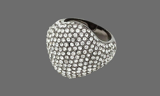 Gunmetal tone ring with clear rhinestones