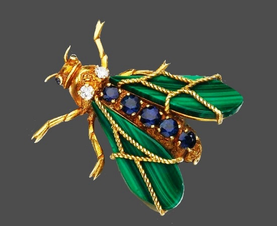 Insect brooch. Malachite, sapphires and diamonds. 1973