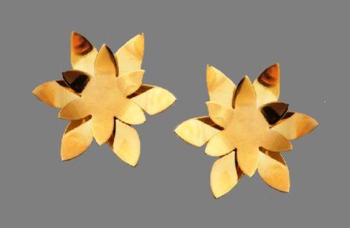 Maravillosa earrings. Bronze, gilding, varnish. 3 cm