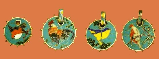 Medallions with enamel, work by Alexis Falize, the design by Lucien Falize, enamel by Tard. 1870. This set testifies characteristic for Falis passion for Japanese art