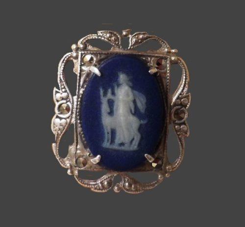 Mythological plot ring. Sterling silver, porcelain. 1950