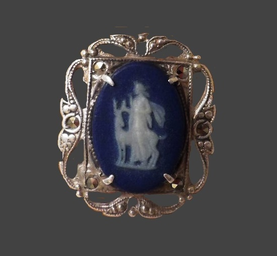 Mythological plot ring. Sterling silver, porcelain. 1950