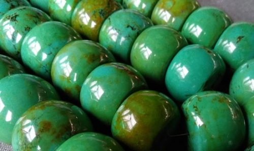 Natural Turquoise (Turkvenite) large rondelle