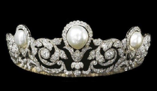 Natural pearl and diamond tiara, 1920
