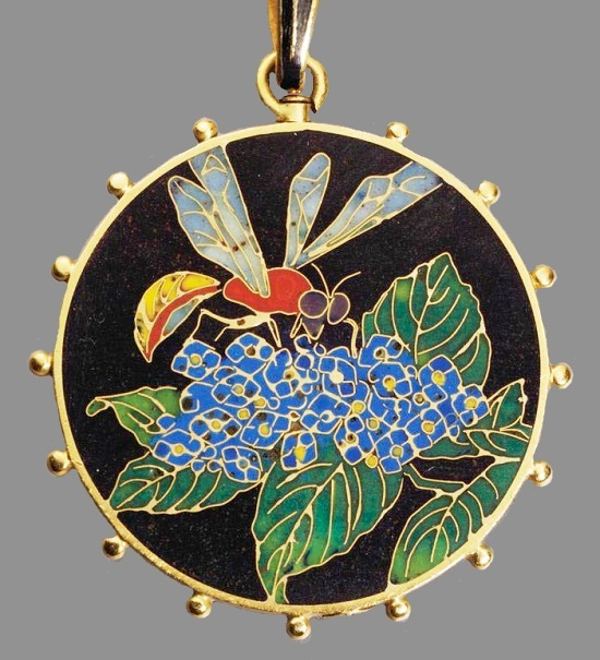 Nature inspired enameled pendant