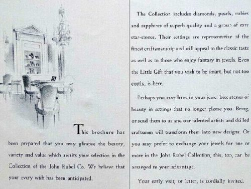 Page from brochure about John Rubel diamond collection