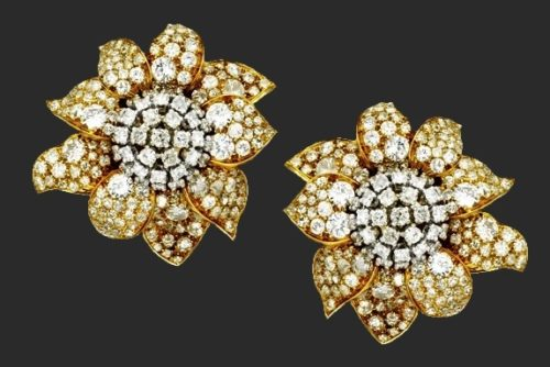 Pair of 18 Karat Gold, Platinum and Diamond Earclips