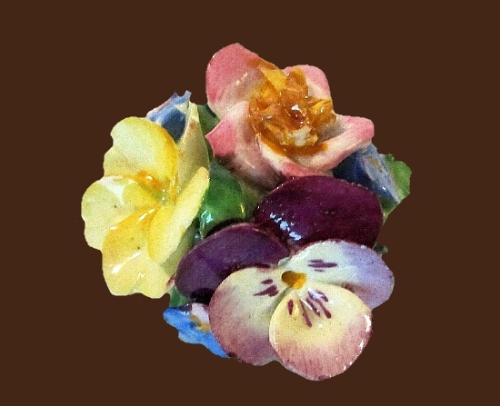 Pansy bouquet brooch. 1930s