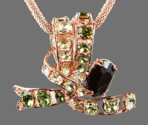 Pink tone pendant rhinestones Swarovski crystals