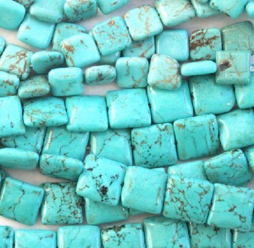 Pressed turquoise, square beads