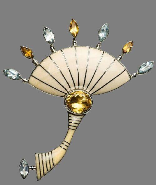 Primavera brooch pendant. silver, citrins, aquamarines, mammoth tusk
