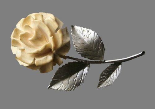Rose brooch pin of silver tone, 12 K gold filled. Charles R. Hettel costume jewelry