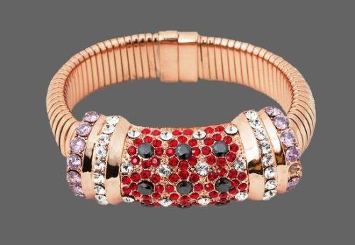Rose gold pink multi crystals bracelet cuff