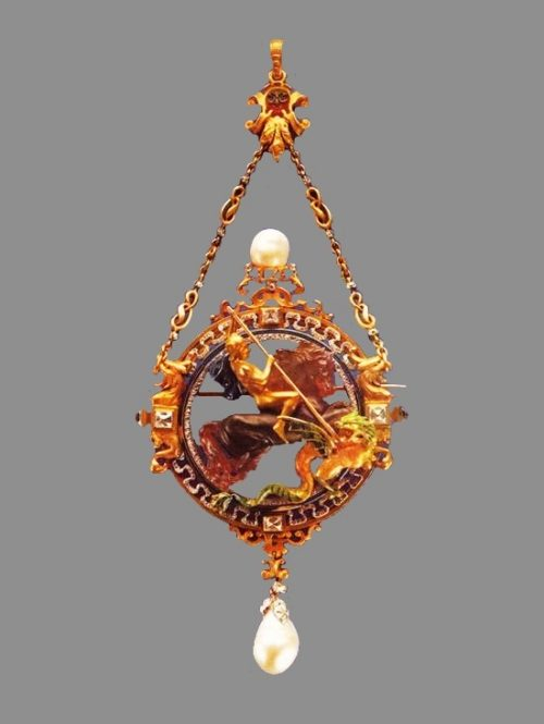 Saint George the Victorious killing a dragon gold and pearl pendant