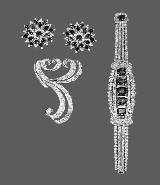 Sapphire and diamond clips, diamond clip, diamond and sapphire bracelet