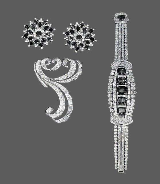 Sapphire and diamond clips, diamond clip, diamond and sapphire bracelet
