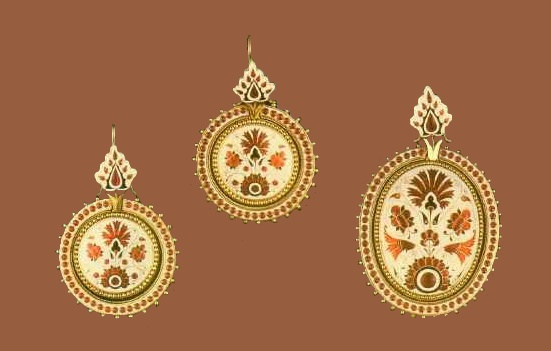 Semi-parure of gold with enamel work. 1875. An example of the enamel's characteristic for this master