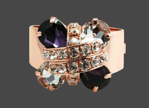 Shiny Pink Purple Clear Crystals Bracelet Cuff