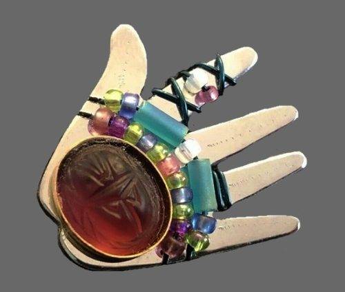 Silver hand brooch pin. Multicolor beads - purple, pink, blue, white and green. 1999