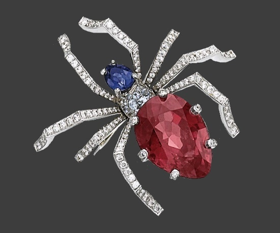 Spider brooch, purple and violet spinel, blue sapphires, brilliant-cut diamonds