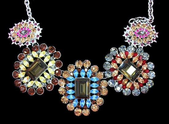 Statement flower design necklace of multicolor crystals of oval, square and round shapes