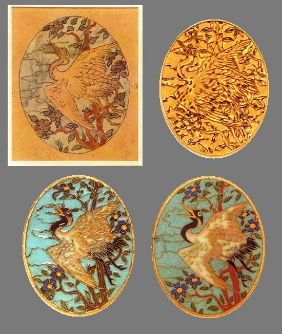 Stork brooch pendant - from drawing to final product