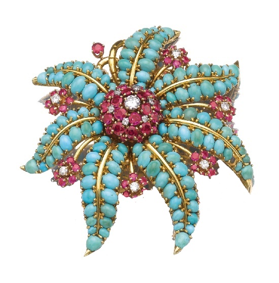 Stylised flower brooch. Turquoise cabochons, rubies, brilliant-cut diamonds. 1940s