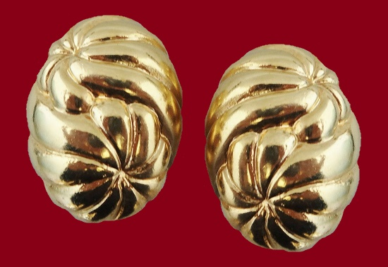Sunburst Runway Statement Earrings of gold tone. 1980s