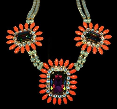 Three-flower design couture necklace. Coral opal, Swarovski crystals