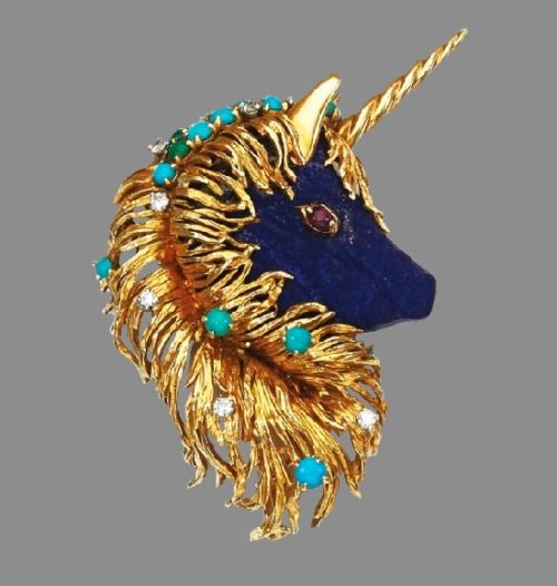 Unicorn's head brooch, lapis lazuli, ruby eye, cabochon turquoise, circular-cut diamonds