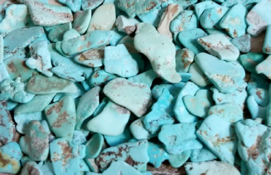 Uzbek chalk turquoise, one of the five varieties of natural turquoise. It is a porous (hygroscopic) light bluish-green turquoise