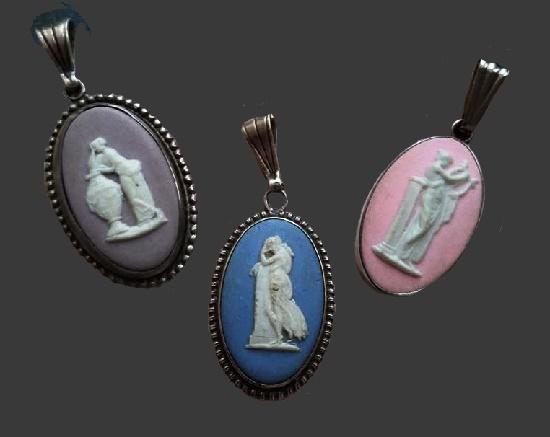 Vintage pendant, biscuit (jasper) porcelain in silver, 1960s