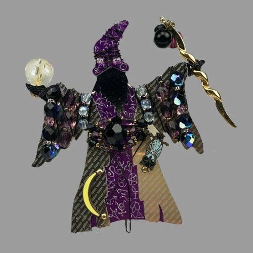 Wizard brooch. Glass beads, gold tone metal, enamel. 1994