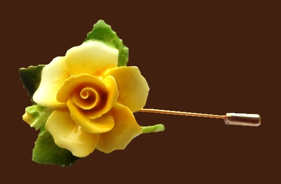Yellow Rose bone porcelain brooch pin. 1970s. 7 cm