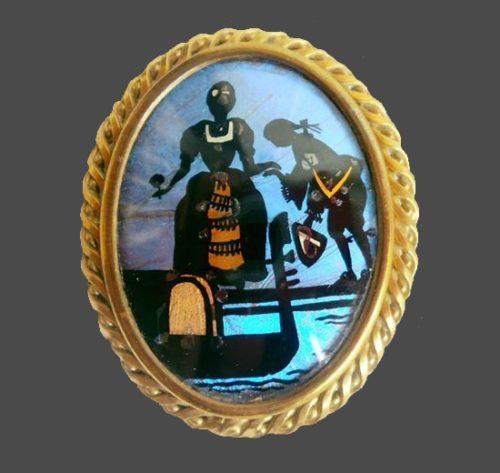 Art brooch, brass, glass, butterfly wing