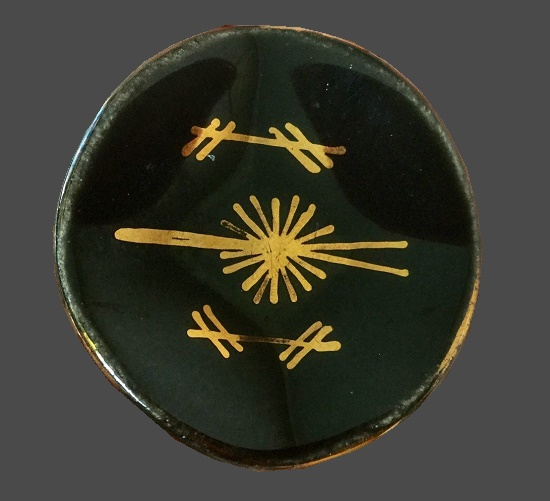 Black brooch in the shape of ceramic plate. 1950s