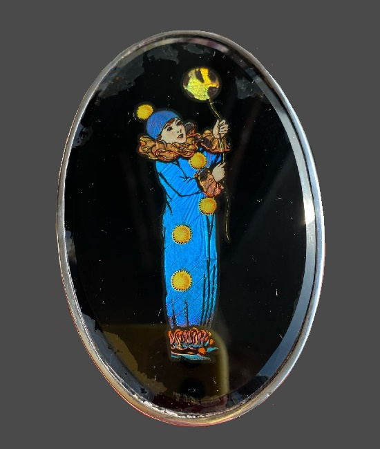 Clown Silver clothes brush, England, 1927. 925 sterling silver, morpho butterfly wing, painted, horsehair