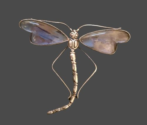 Dragonfly brooch. Sterling silver, butterfly wings