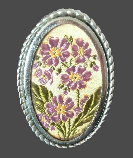 Flowers oval brooch. Foil silver, plotting, brocade, embroidery. 7 cm