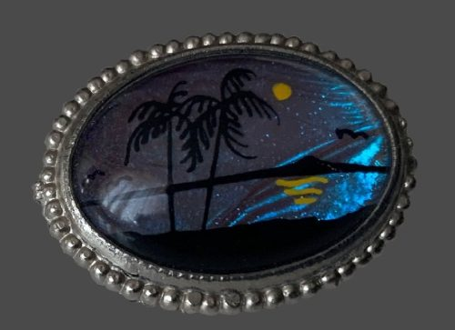 Palms and Sea Landscape brooch. bijouterie alloy, lucite, morpho wing. 4.3 x 3.5 cm. 1950s