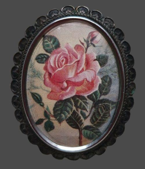 Pink rose brooch