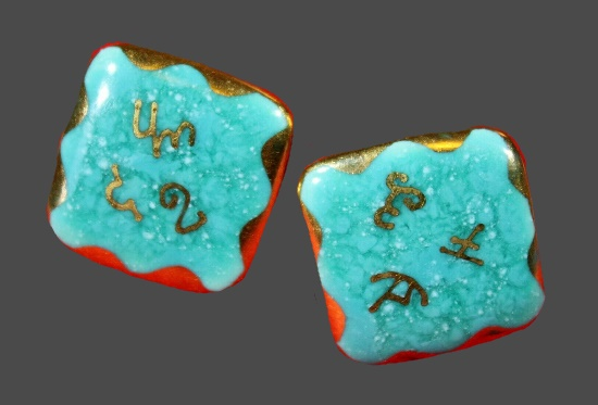 Screwback Porcelain Earrings Flecked Teal with gold Kanji and edges. 1950s