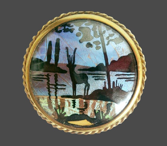 Seascape brooch. Brass, glass, butterfly wing