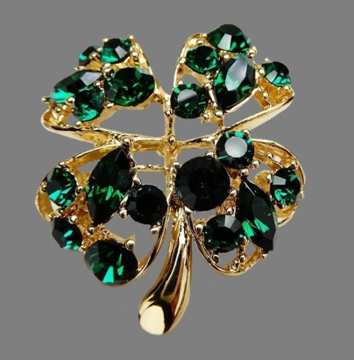 Vintage Signed JC Joseph Cleary Four Leaf Clover Rhinestone Brooch Pin